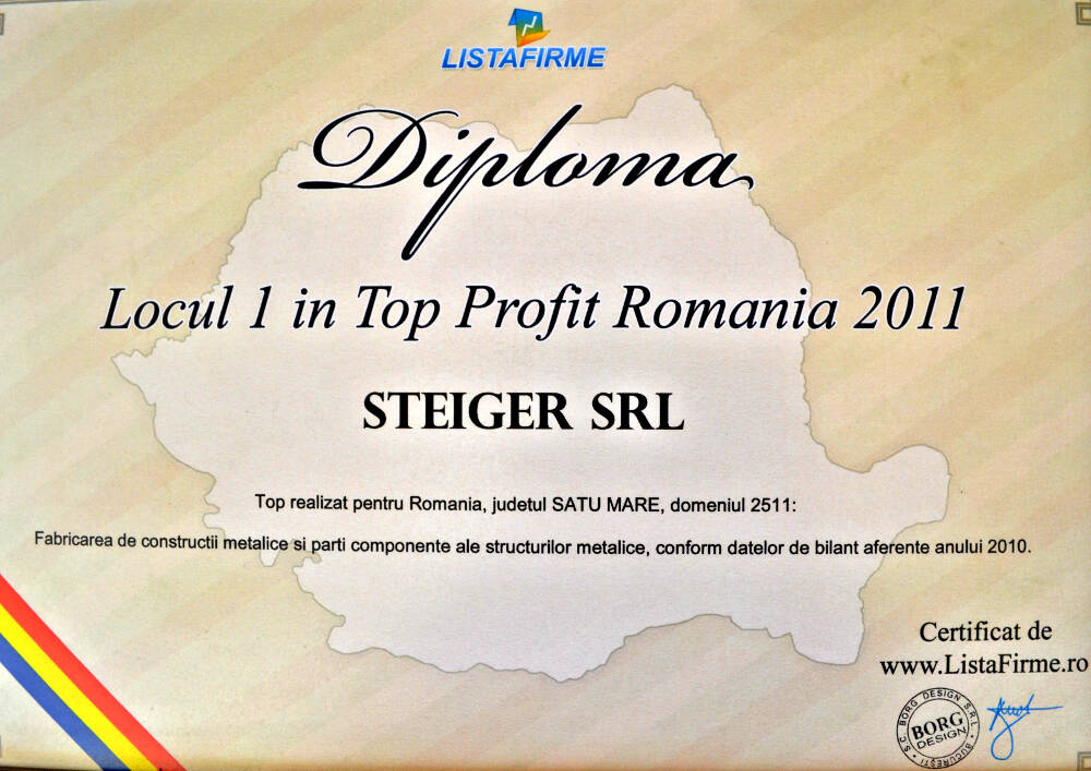 1. Top Profit Romania 2011 – 1st place (Satu Mare County) in domain: 2511 (Manufacture of metal structures and parts of structures) (Listafirme)