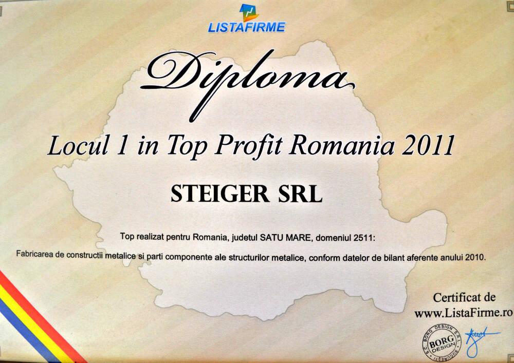 1. 2011 - Top Profit 2011 Satu Mare Locul I Steiger SRL