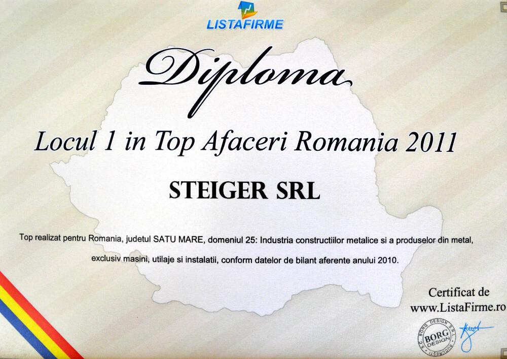 3. 2011 - Top Afaceri Romania Satu Mare Locul I. Steiger SRL