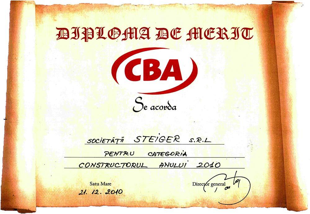 5. 2010 - Diploma de Merit CBA - Constructorul anului 2010