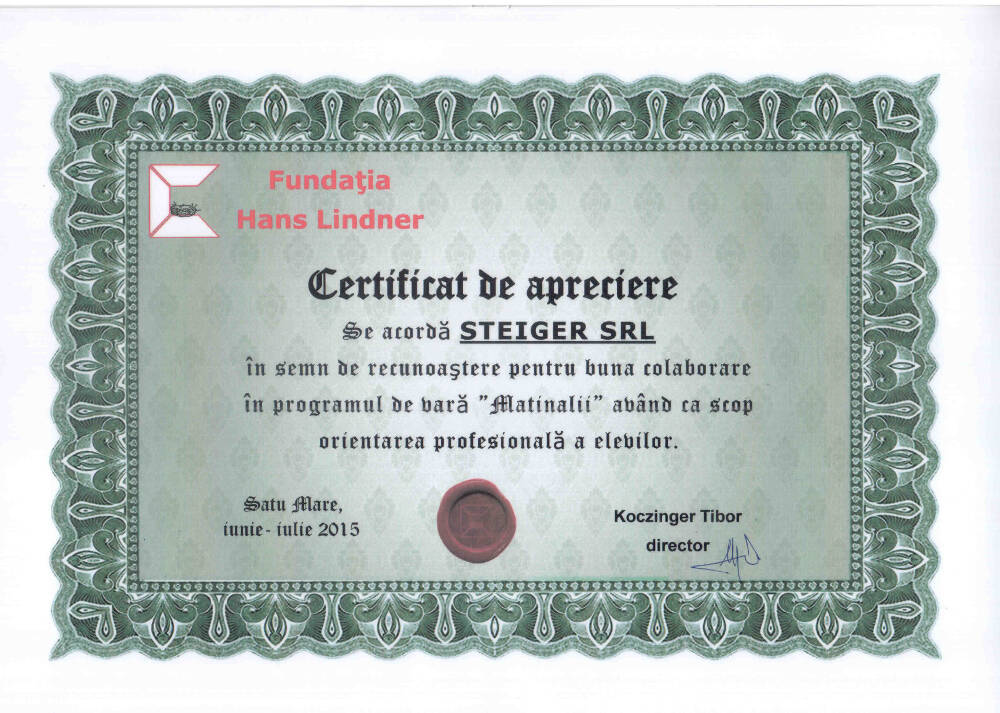 8. 2015 Certificat de Apreciere Fundația Hans Lindner